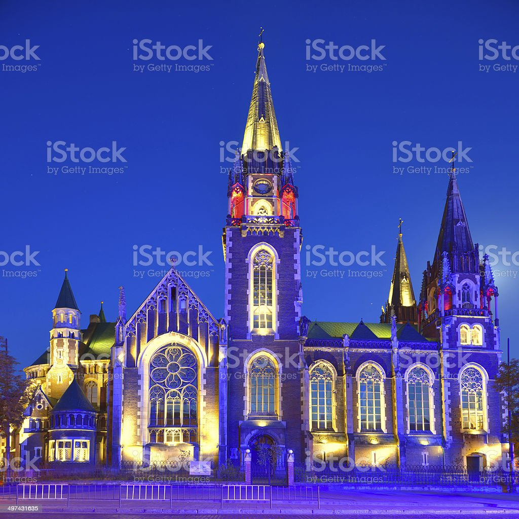 Church of St. Olha and Elizabeth in Lviv stock photo
