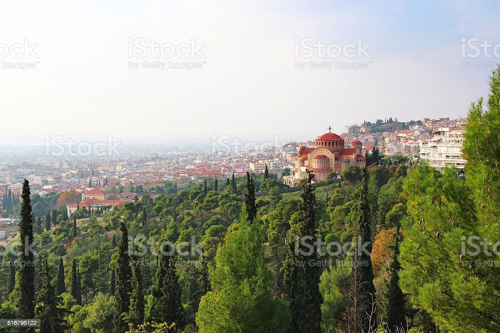 Church of St. Pavlo and Thessaloniki view, Greece stock photo