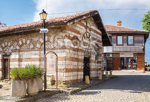 Nessebar, Bulgaria - June 26, 2019: small old church of St. Theodore in old town of Nessebar