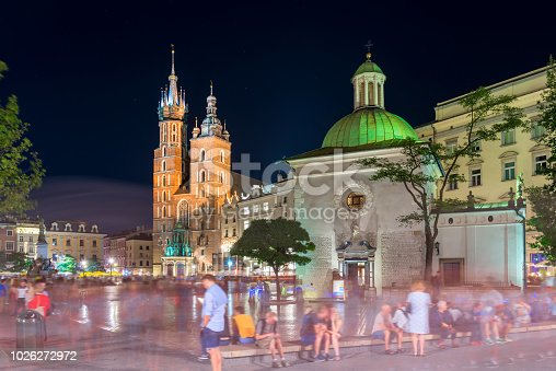 istock Church of St. Wojciech in Kraków square at night 1026272972