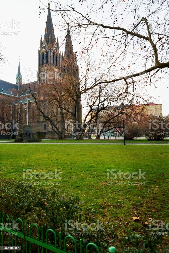 Church of St.Ludmila with park, Prague. stock photo