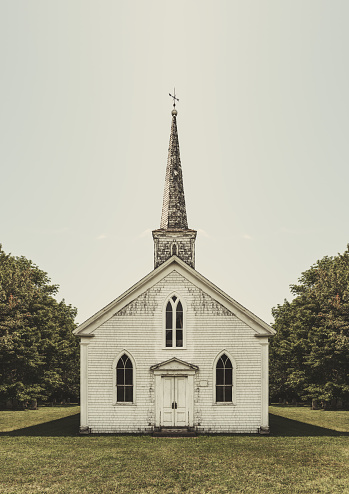 A disused rural church.  Composite image.