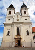 Beautiful Dual Spire Abbey/Church in Tihany, Hungary. Located on the the shores of Lake Balaton. Founded in 1055, this Church is Baroque rebuilt in 1754