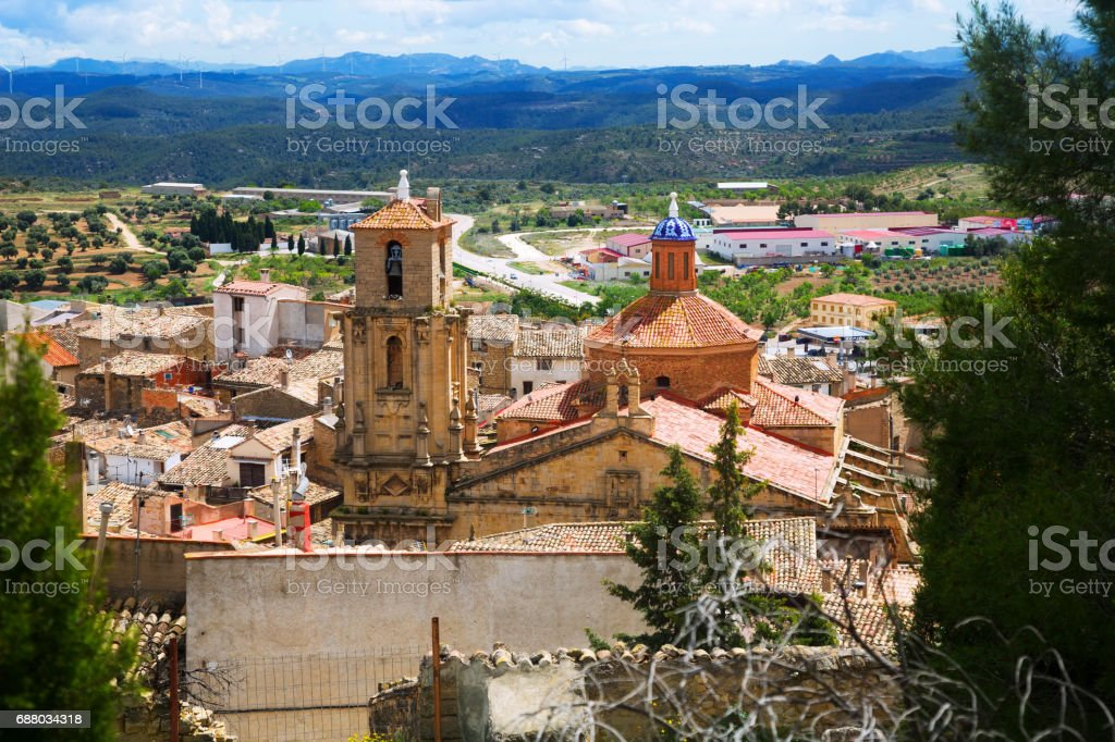 Church of the Assumption in  Calaceite stock photo