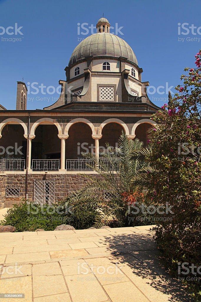 Church of the Beatitudes on Mount of the Beatitudes, Israel stock photo