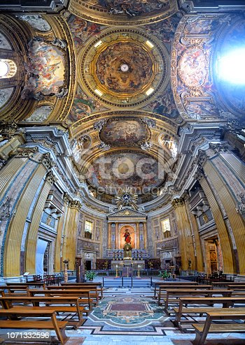 Main nave and altar Church of the Gesu in Rome, Italy. Composite photo