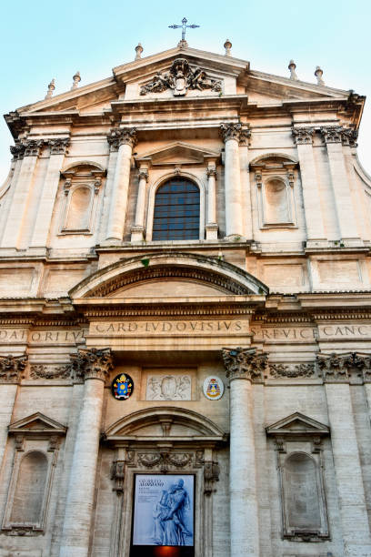 Church of the Gesu (Chiesa del Gesù) is the mother church of the Society of Jesus (Jesuits), a Catholic religious order stock photo