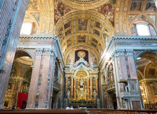 Chiesa del Gesu Nuovo church in Naples, Campania, Italy. stock photo