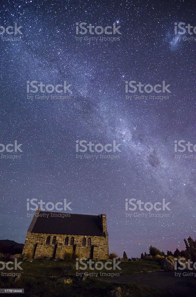 Church of The Good Shepherd and Milky Way, Lake Tekapo stock photo