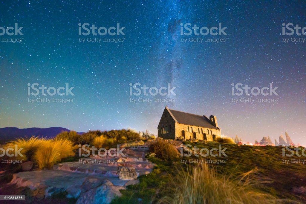 Church of The Good Shepherd and the Milky Way, Lake Tekapo, New Zealand stock photo