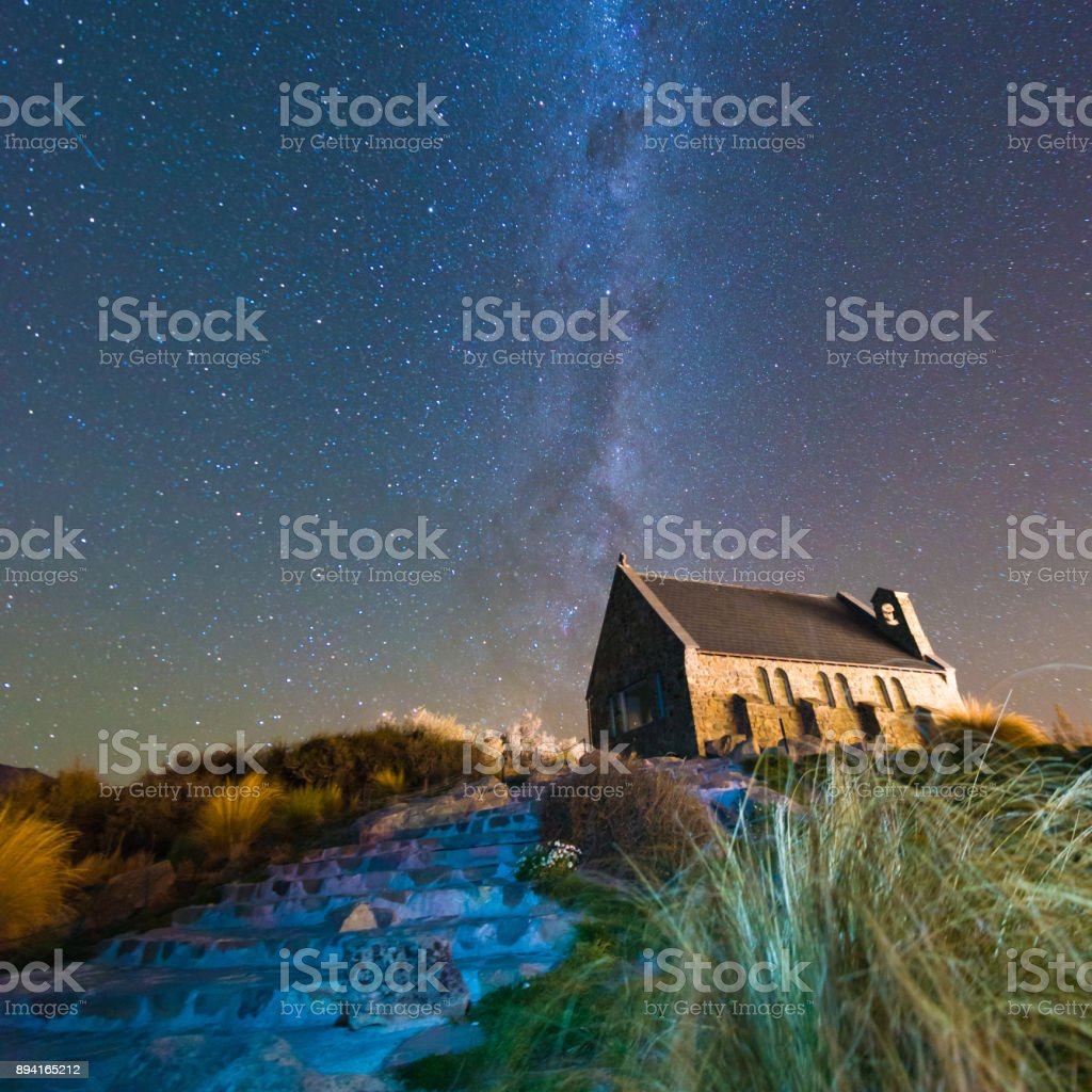 Church of The Good Shepherd and the Milky Way, Lake Tekapo, New Zealand stock photo
