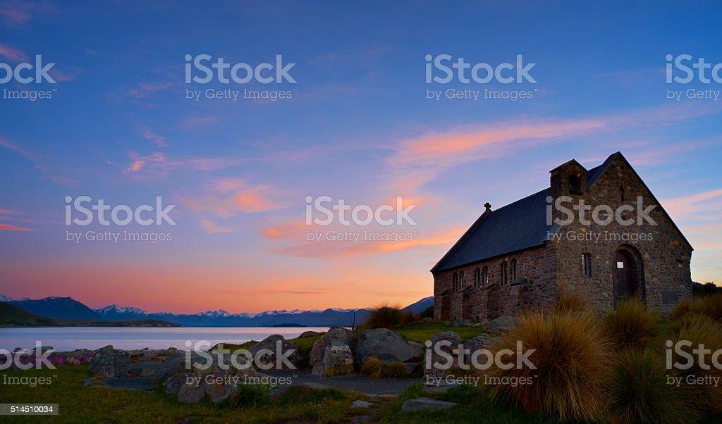 Church Of The Good Shepherd, Lake Tekapo, At Dawn stock photo