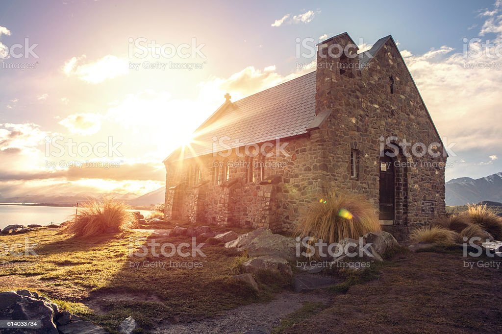 Church of the Good Shepherd, NZ stock photo