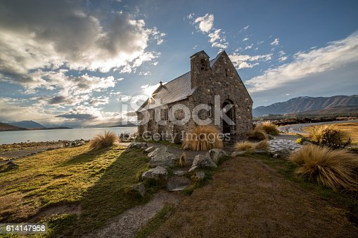 Church of the Good Shepherd and Lake Tekapo. Beautiful light, sunbeam on the church.