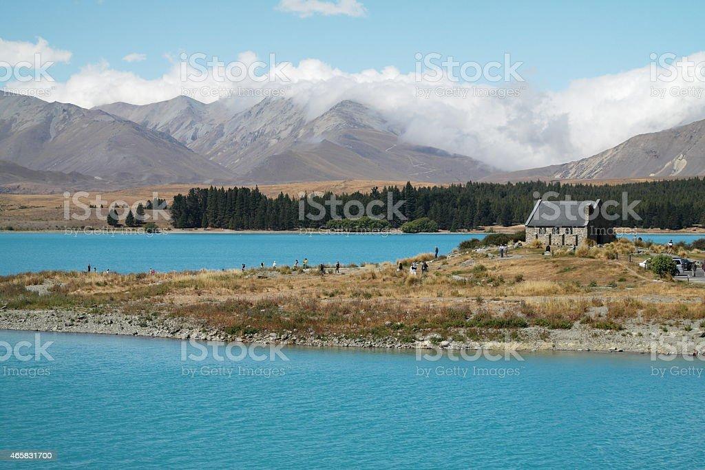 Church of the Good Shepherd on Tekapo lake stock photo