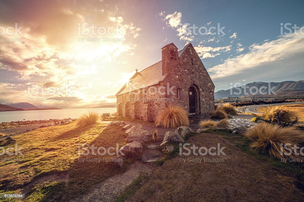 Church of the Good Shepherd, Tekapo, New Zealand stock photo