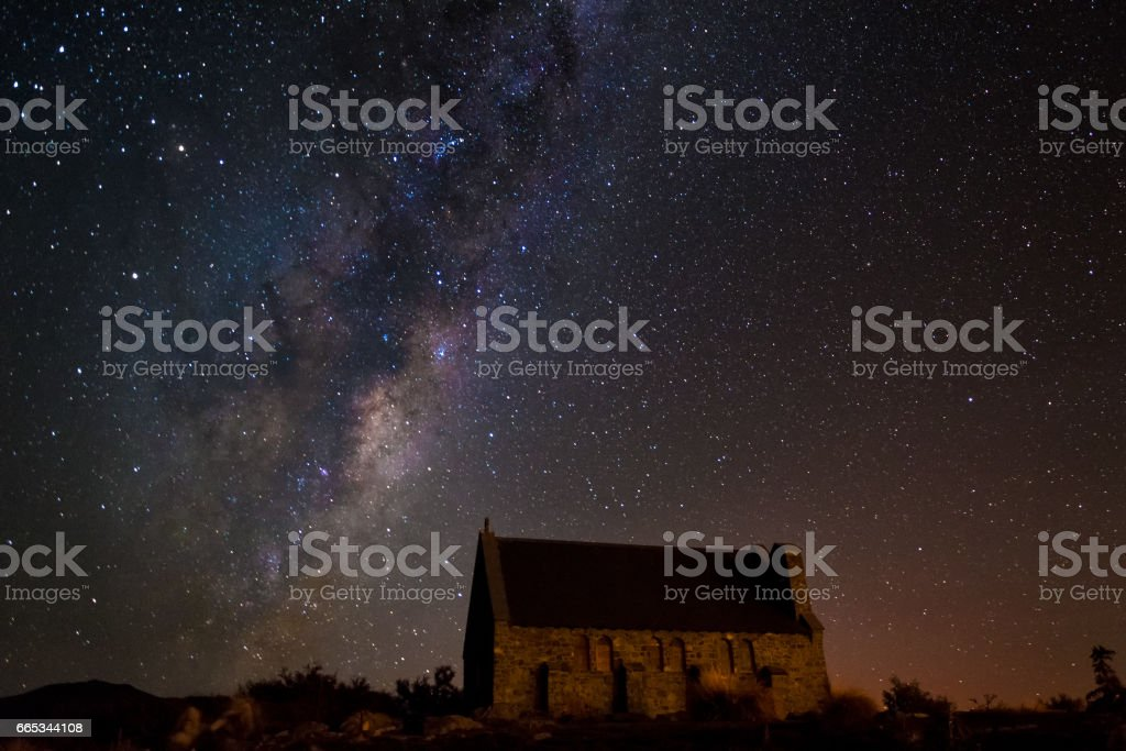 Church of the good shepherd with milky way, South Island, New Zealand stock photo