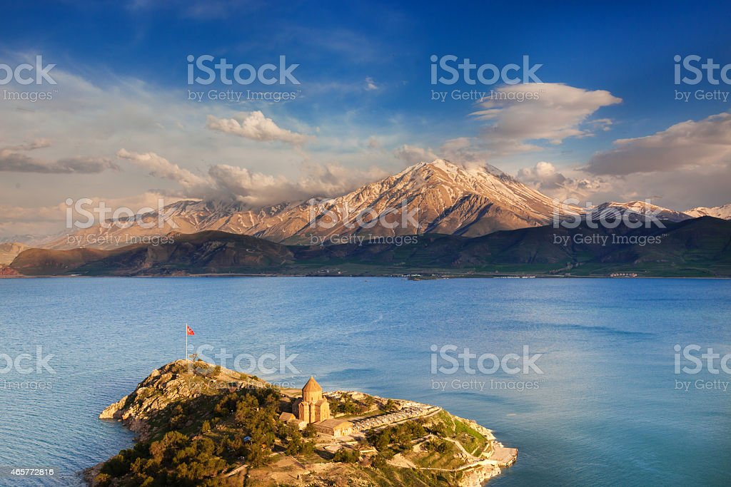 Church of The Holy Cross, Lake Van, Turkey stock photo