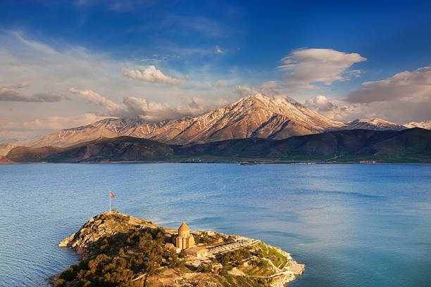 Church of The Holy Cross, Lake Van, Turkey stock photo