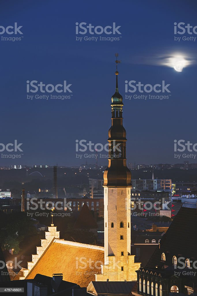Church of the Holy Ghost at night stock photo