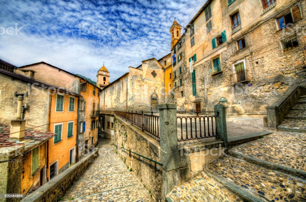 Church of the Holy Savior in Saorge, Alpes-Maritimes, Provence, France stock photo