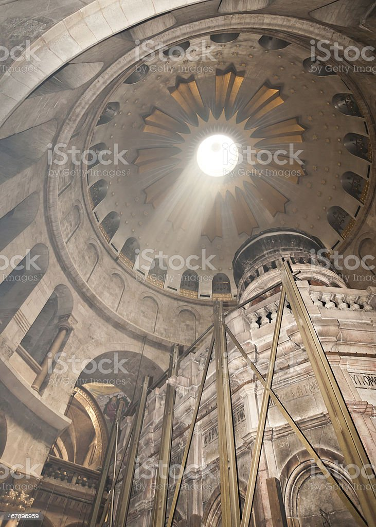 Church of the holy Sepulchre in Jerusalem, Rotunda stock photo