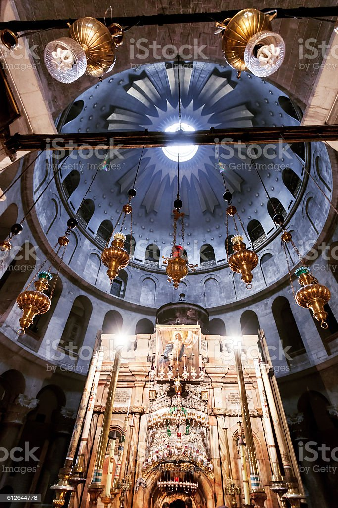 Church of the Holy Sepulchre in old city Jerusalem, Israel. stock photo