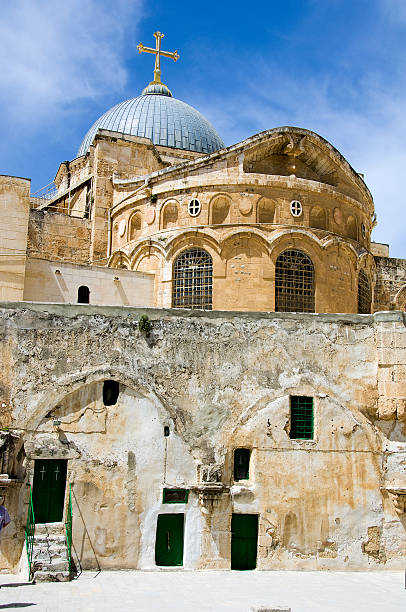 Church of the Holy Sepulchre Church of the Holy Sepulchre in the Old City of Jerusalem, Israel. Viewed from the roof of St Helena's Chapel east jerusalem stock pictures, royalty-free photos & images