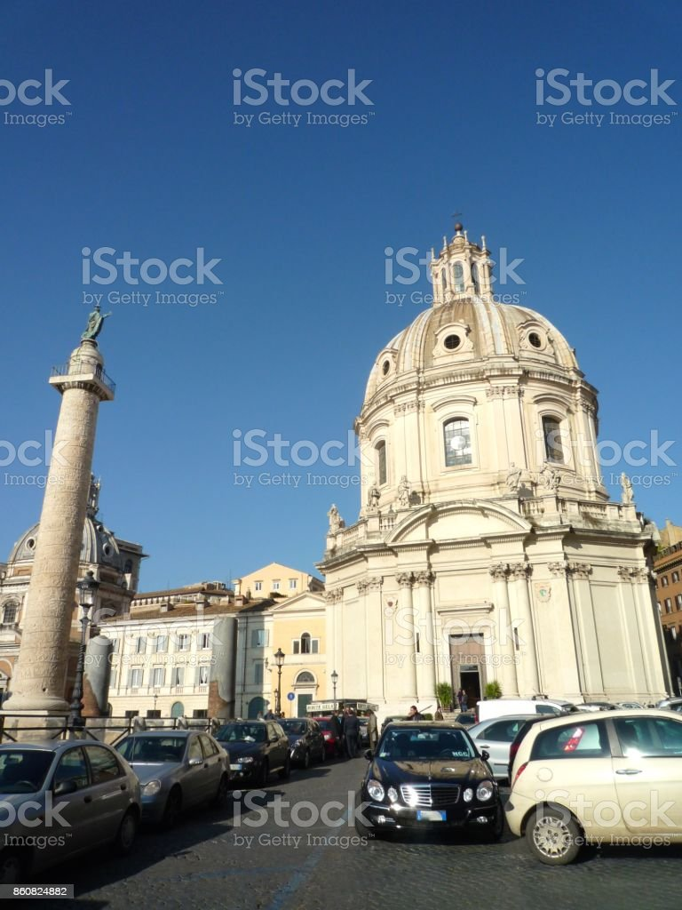 Church of the Most Holy Name of Mary at the Trajan Forum stock photo
