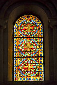 JERUSALEM, ISRAEL - JANUARY 20, 2007: Stained glass window of the Lutheran Church of the Redeemer in Jerusalem, Israel.