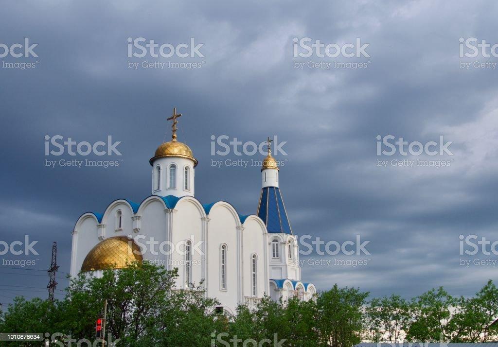 Church of the Savior in Murmansk city stock photo