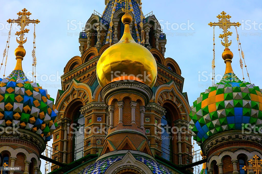 Church of the Savior on Blood cupolas architecture detail stock photo