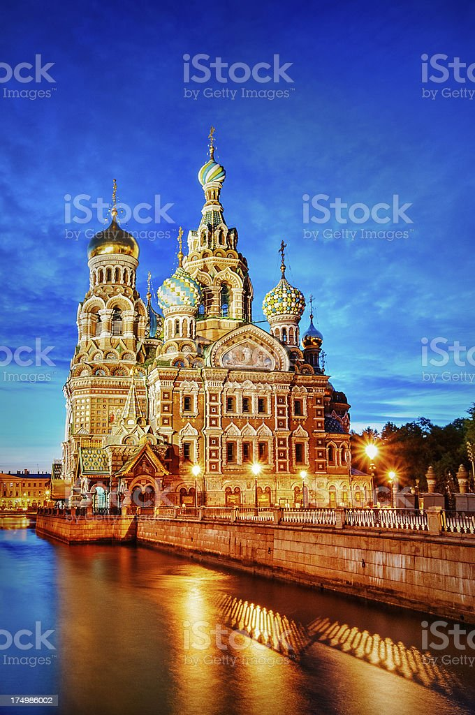 Church of the Savior on Spilled Blood at Sunset stock photo
