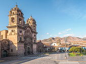 Church of the Society of Jesus at the Plaza de Armas in the center of Cusco, Peru.