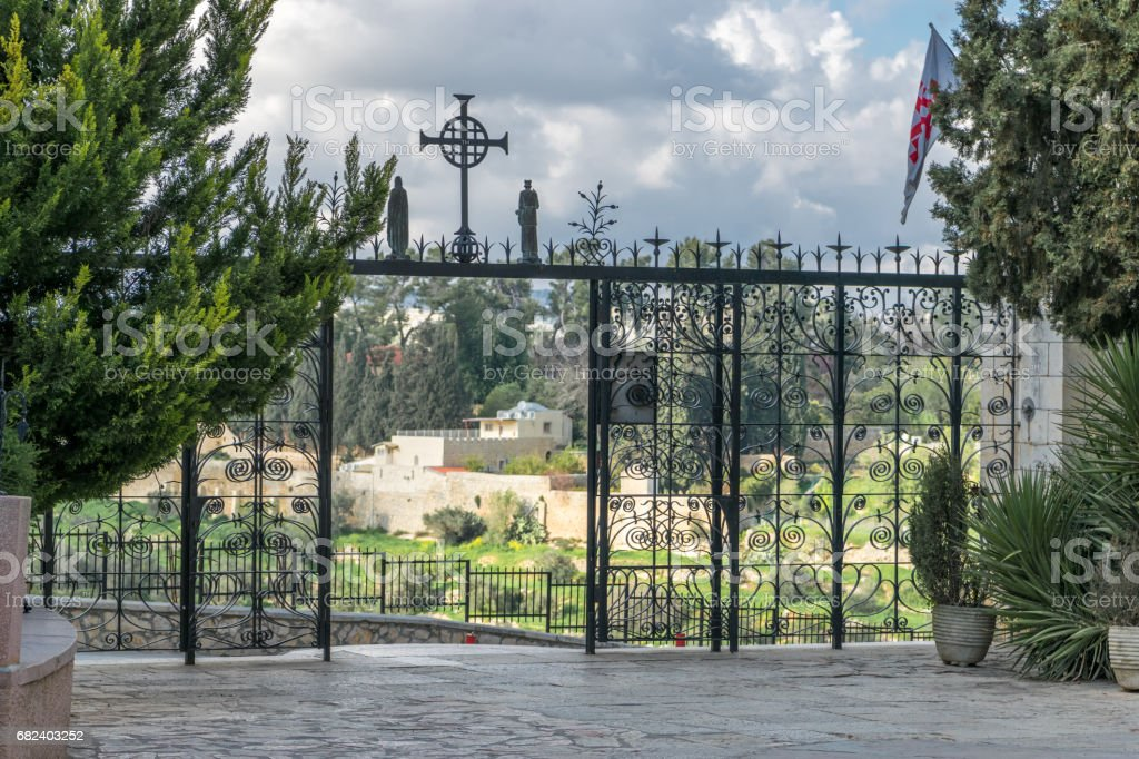 Church of visitation gate with a view royalty-free stock photo