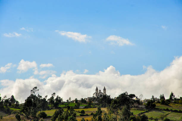 A church on a hill in Ecuador stock photo