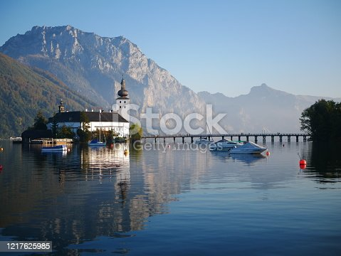 istock Church on a mountain lake 1217625985