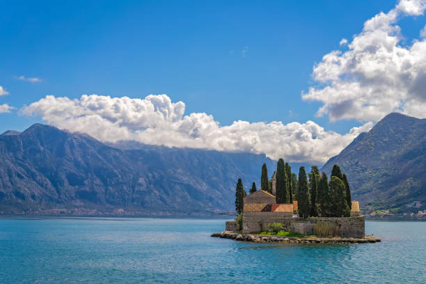 Church on San George`s island in Kotor Bay stock photo