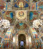 Panorama of frescos in Church of the Resurrection of Christ, St. Petersburg, Russia.