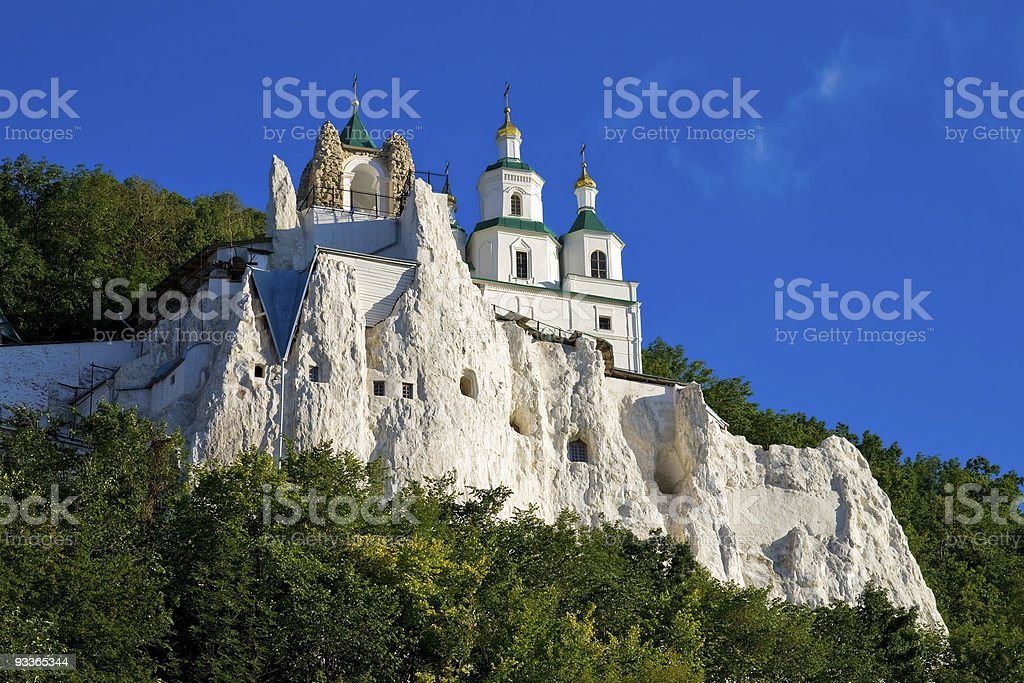 Church on the chalk rock stock photo