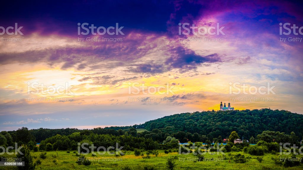 Church on the hill stock photo