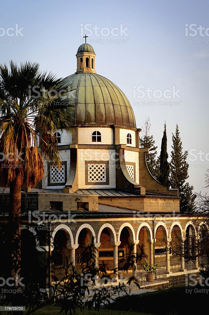 Church on the Mount of Beatitudes, Israel at sunset royalty-free stock photo
