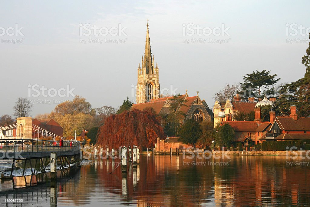 Church on the River Thames stock photo