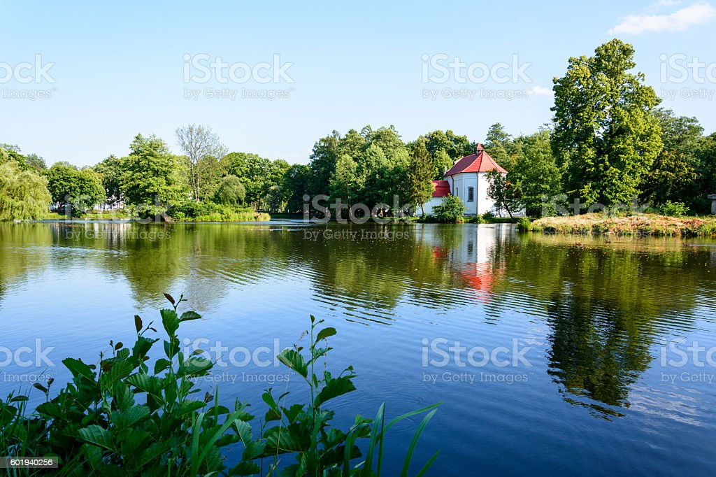 Church on the water in Zwierzyniec stock photo