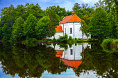 Church on the water in Zwierzyniec, Poland.