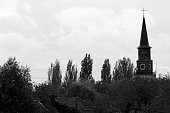 Church on tree abandoned village Doel black and white