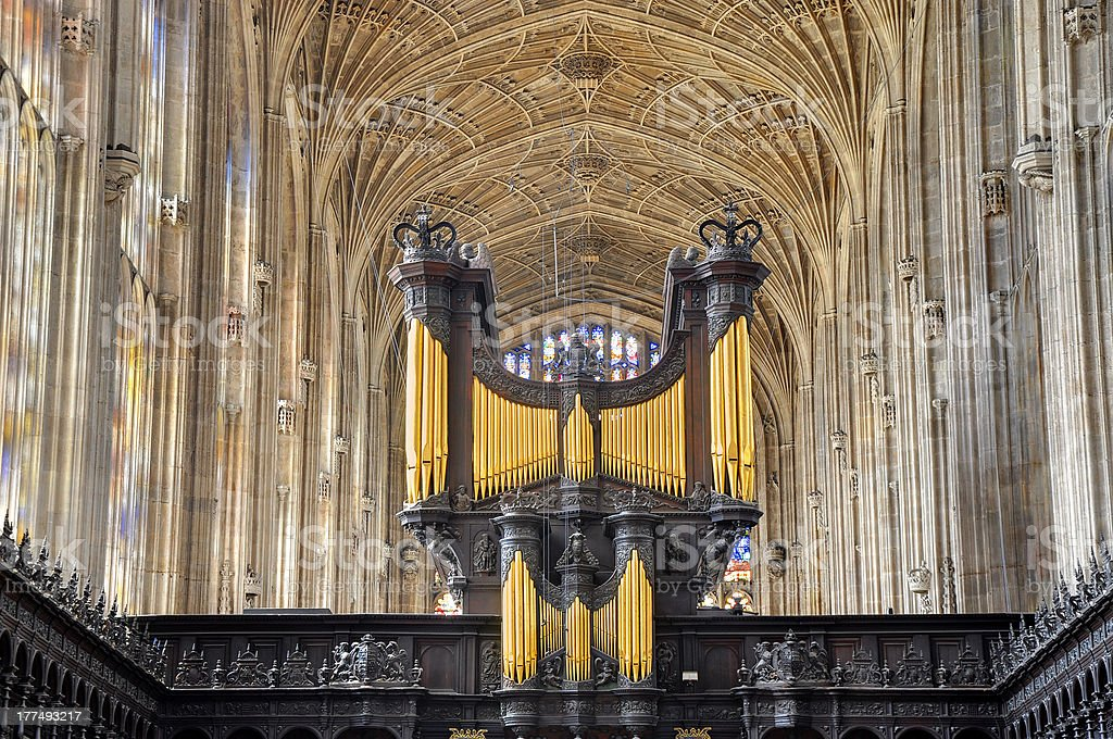 Church organ in King's College Chapel, Cambridge stock photo