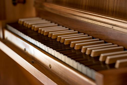 Church organ with wooden keys
