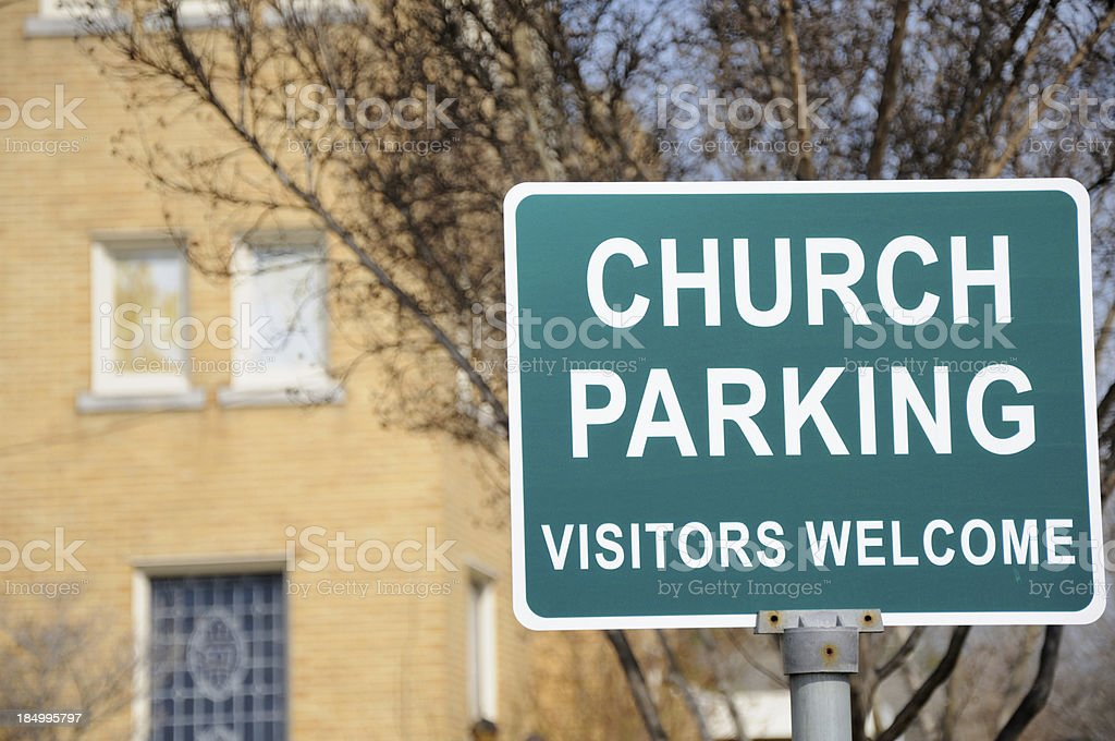 Church parking vistors welcome sign stock photo