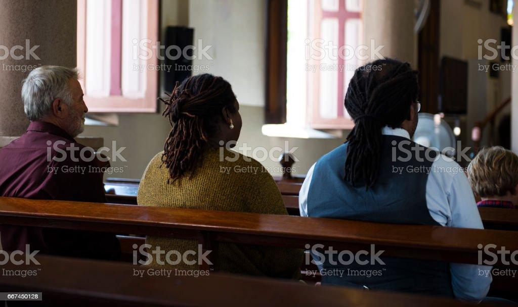 Church People Believe Faith Religious Praying stock photo